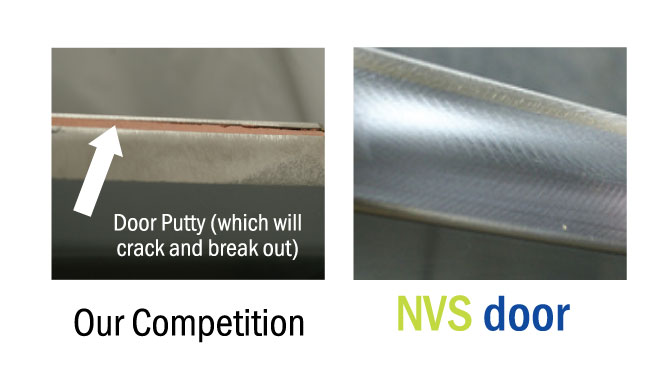 Visual showing a putty filled edge and a NVS seam.